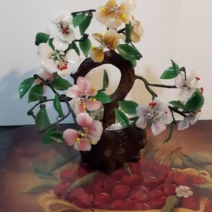 Small Floral glass jade tree home decor